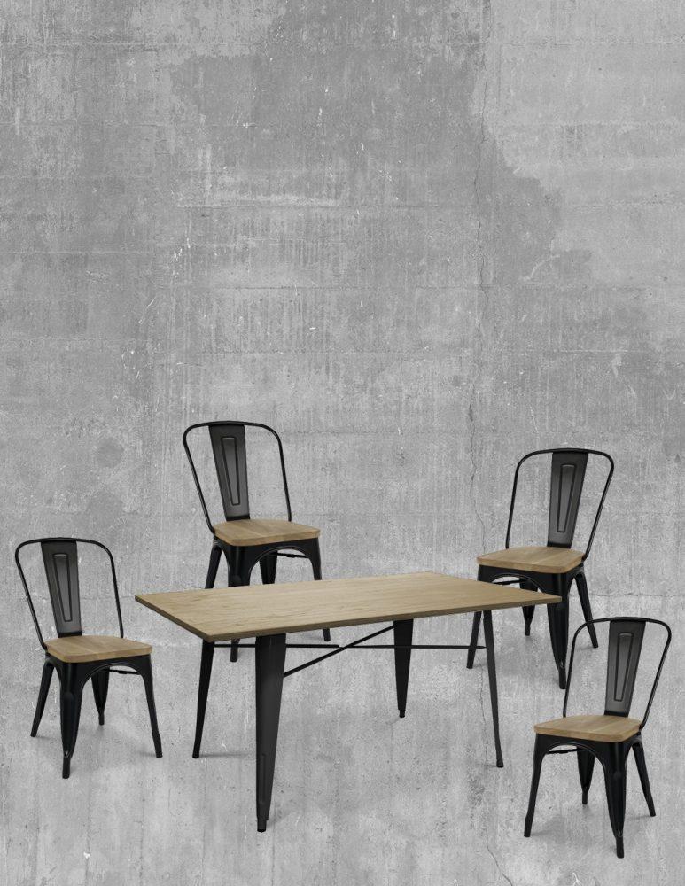 Juego de comedor Tolix Negro Silla con madera y mesa comedor